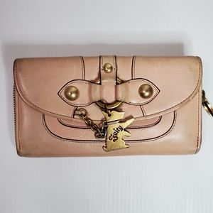 Juicy Couture long zip leather wallet pink logo